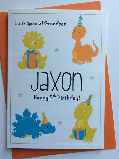 Personalised Dinosaur Party Birthday Card: Son/Grandson/Brother