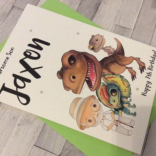 Personalised Dinosaurs Birthday Card: Son/Grandson/Brother/Friend