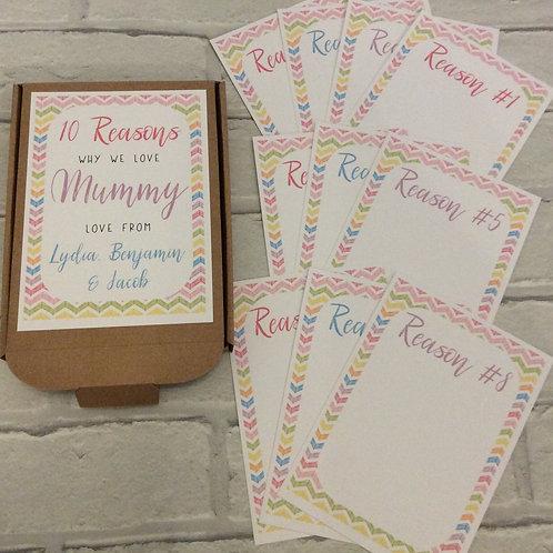Personalised 10 Ten Reasons Why We Love Mummy Gift Box