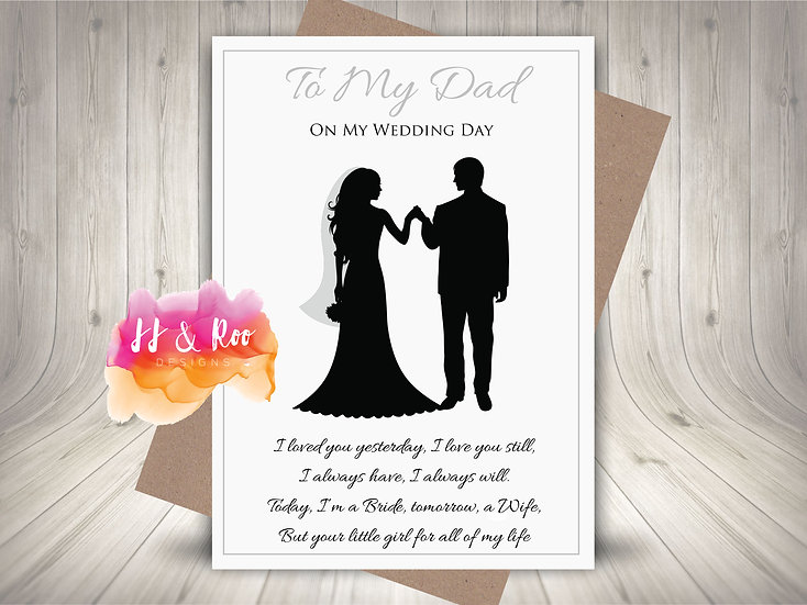 To My Dad On My Wedding Day Card from Bride to Be