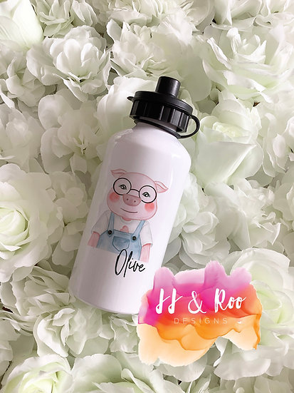 Personalised Metal 500ml Pig with Glasses Water/Drinks Bottle