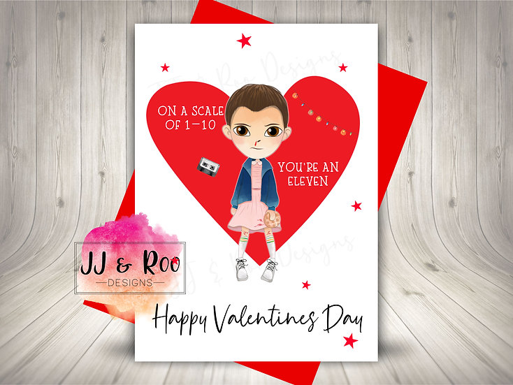Cute Stranger Things Inspired Valentines Card: You're An Eleven