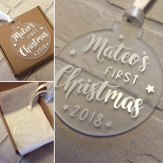 Personalised Baby's 1st Christmas Hanging Tree Decoration (Flat