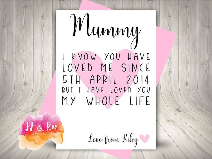 Personalised Cute Card for Mummy: Loved You My Whole Life