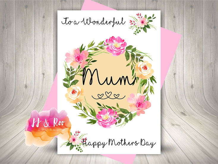 Pretty Floral Mothers Day Card (Personalise for Mum, Mummy, Nan etc)