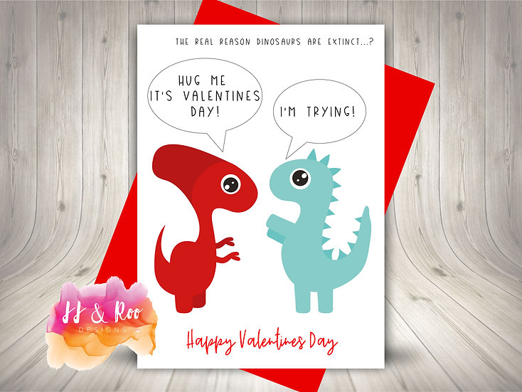 Funny Dinosaur Love Valentines Day Card: Hug Me/I'm Trying