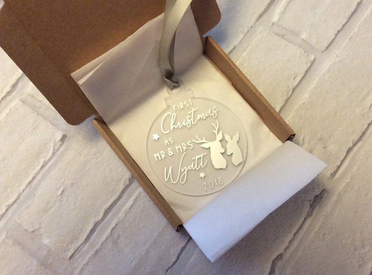 Personalised 1st Christmas as Mr & Mrs Hanging Tree Decoration