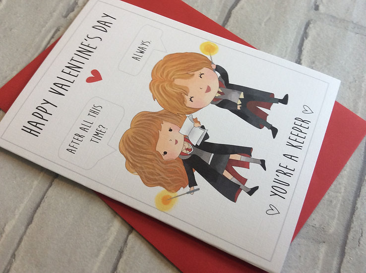 Harry Potter Inspired Valentines Card: Ron & Hermione Always