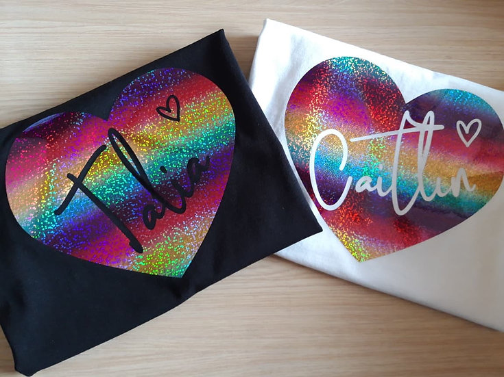 Personalised Childs Holographic Rainbow Heart T-Shirt