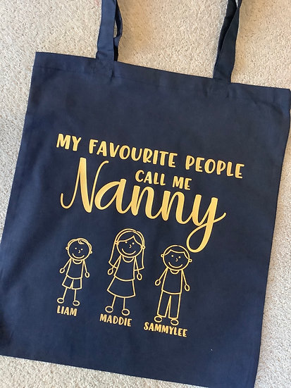 Personalised Reusable Mummy/Nanny Tote Bag: My Favourite People