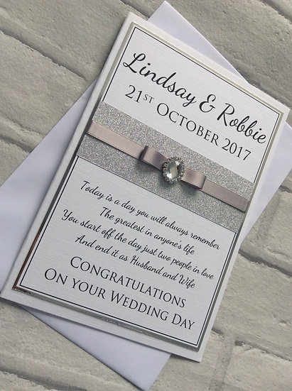 Personalised Luxury Sparkly Ribbon Handmade Wedding Day Card