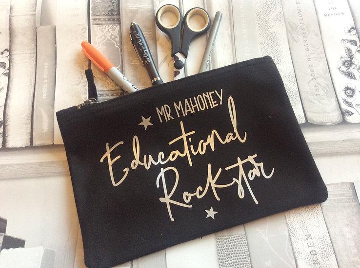 Personalised Educational Rockstar Pencil Case/Accessory Bag