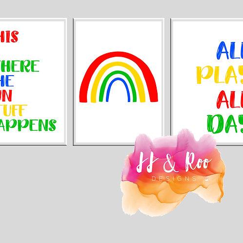 Set of 3 Rainbow Themed Playroom/Nursery Prints (Unframed)