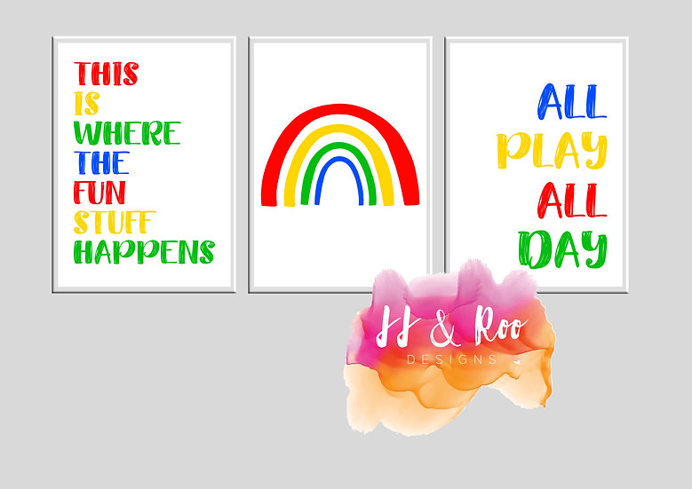 Set of 3 Rainbow Themed Playroom/Nursery Prints (Unframed)