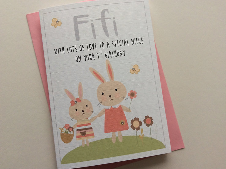 Personalised Birthday Card: Cute Bunnies (Daughter, Granddaughter, Niece)