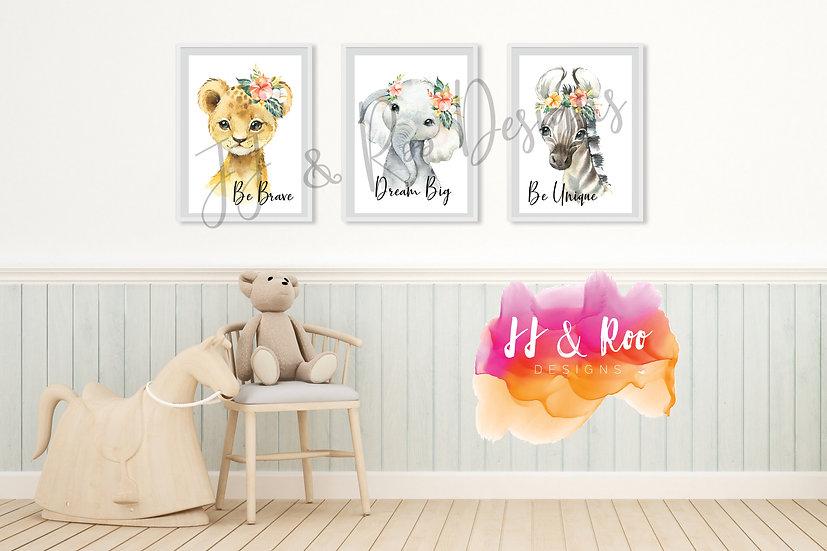 Set of 3 Safari/Jungle Animal Themed Playroom/Nursery Prints (Unframed)