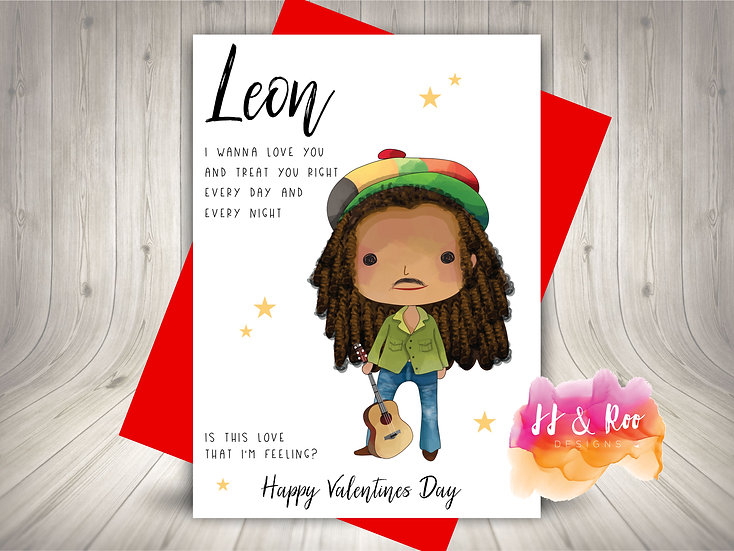 Personalised Funny Valentines Card: Bob Marley Inspired