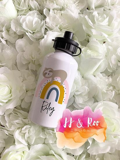 Personalised Metal 500ml Sloth Rainbow Water/Drinks Bottle