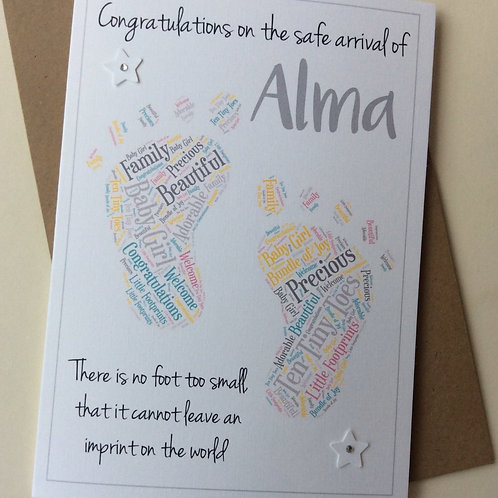 Personalised New Baby Congratulations Card: Footprint Word Cloud
