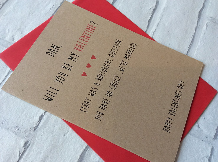 Personalised Funny Valentines Card: Engaged/Married (Husband Wife Fiancé)
