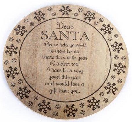 Wooden Santa Treat Plate/Board (25cm)