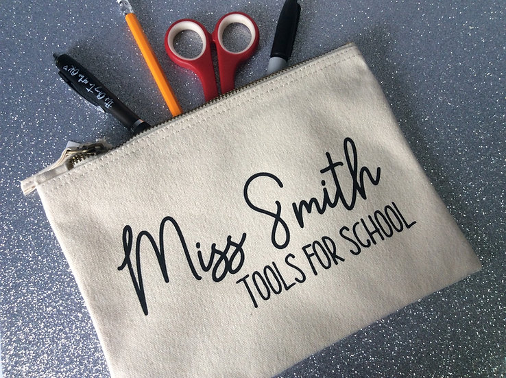 """Personalised Teacher Pencil Case/Accessory Bag """"Tools for School"""""""