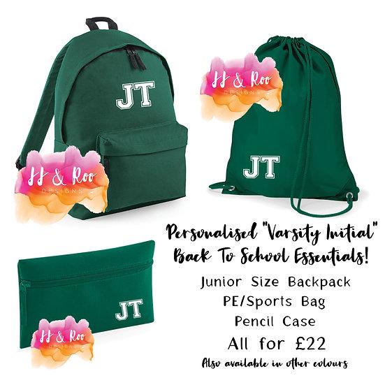 "Personalised ""Varsity Initial"" Back To School Essentials Bag Set"