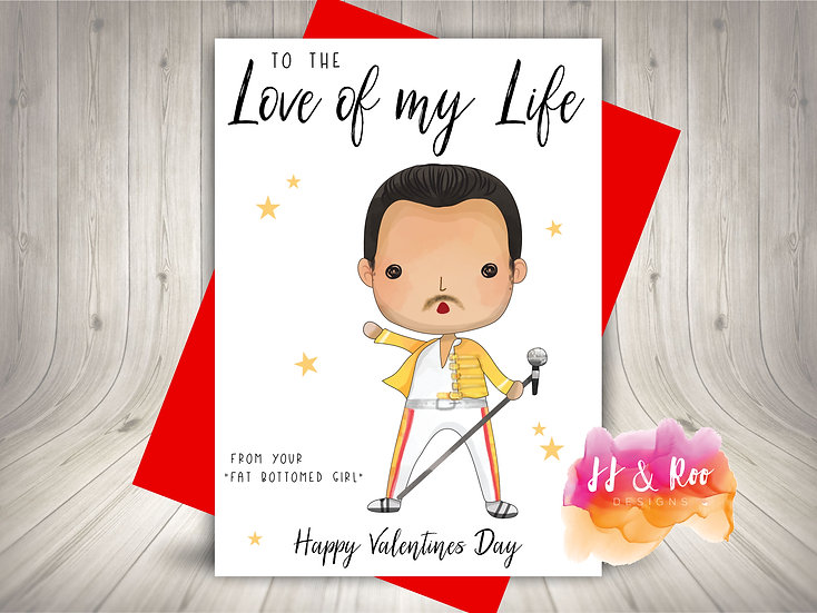 Cute Funny Valentines Card: Queen/Freddie Mercury Inspired