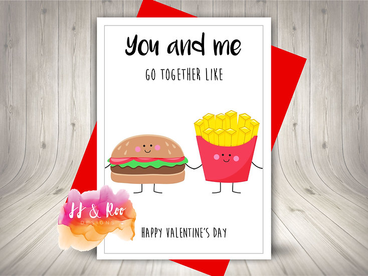 Cute Food Pun Valentines Day Card: Burger & Fries Perfect Pair