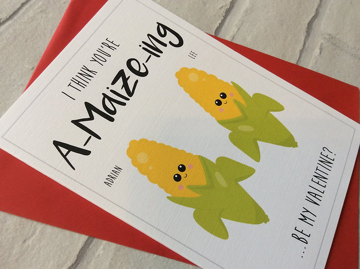 Personalised Food Pun Valentines Day Card: A-maize-ing