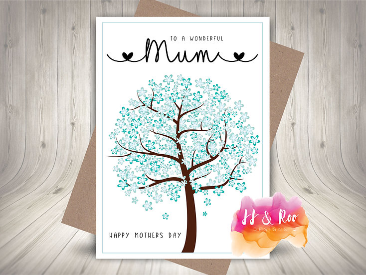 Personalised Mother's Day Card: Pretty Blue Blossom Tree (Mum, Nan etc)