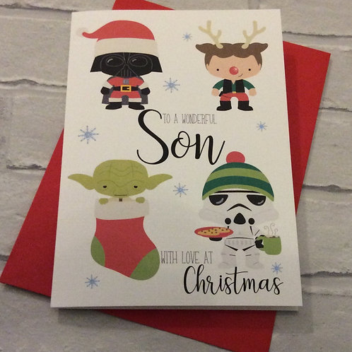 Personalised Cute Star Wars Inspired Christmas Card: Son, Grandson