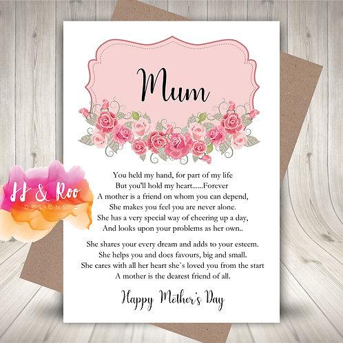Pretty Mother's Day or Mum's Birthday Card: Sentimental Poem