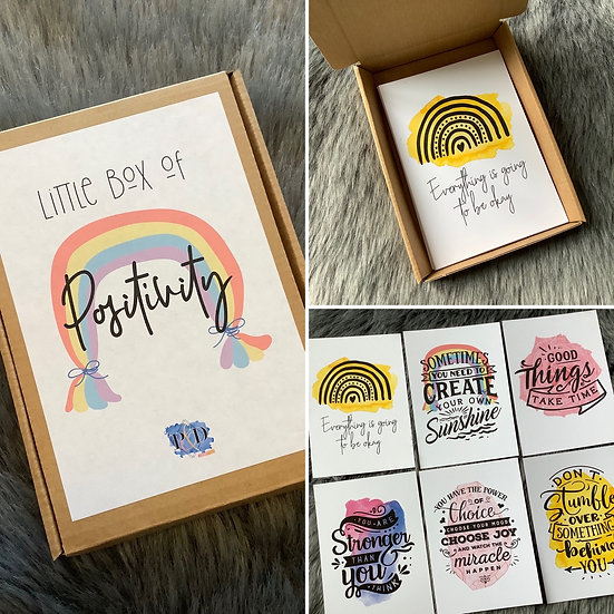Little Box of Positivity (12 x Affirmation Cards, inspirational Quotes)
