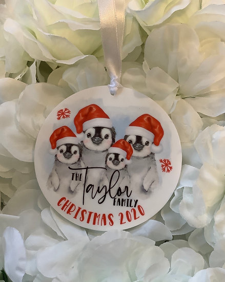 Personalised Penguin Family Christmas Tree Bauble Decoration