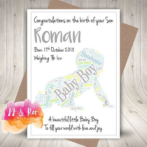 Personalised Baby Boy Word Cloud Congratulations Card