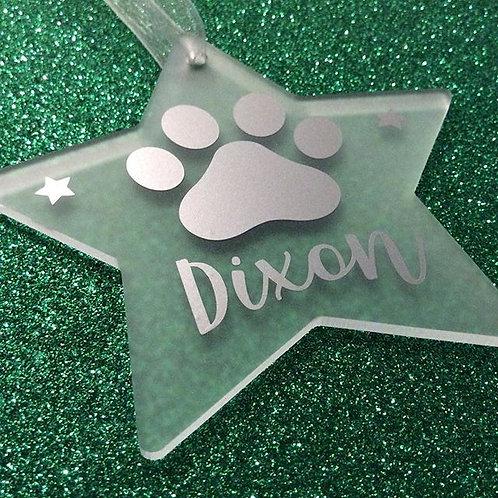 Personalised Pet Pawprint Hanging Christmas Tree Decoration