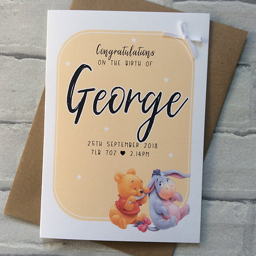 Personalised New Baby Birth Congratulations Card: Pooh Bear