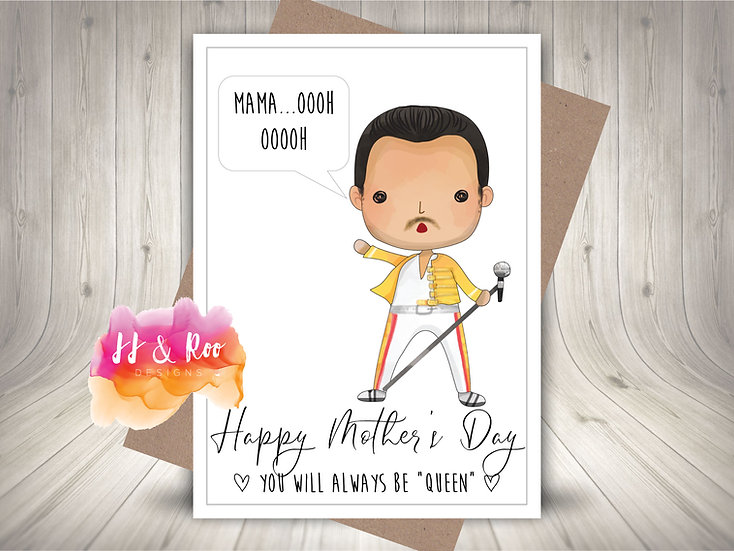 """Funny Mother's Day Card: Freddie Mercury Queen """"Mama"""""""