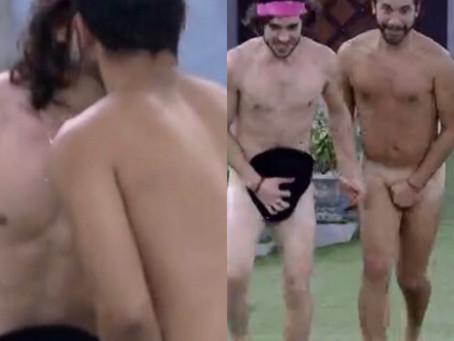 BBB 21: Gil Nogueira e Fiuk se beijam e pulam na piscina sem roupa