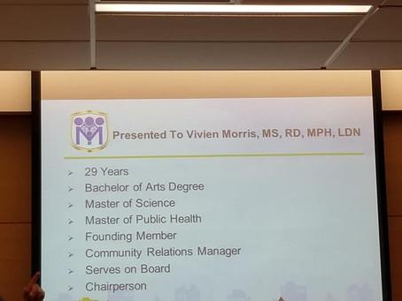 Vivien Morris awarded Dr. T. Leon Nicks Exemplary Service Award