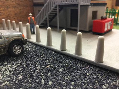 1:76 3D Printed Concrete Bollards (real Concrete Pla) - 12pkt