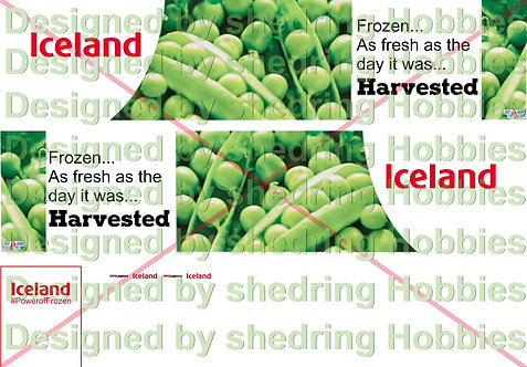 1:76 Code3 Iceland Decal Sheet For Oxford Diecast Fridge/Box Trailer & Cab