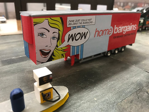1:76 3D Printed Double Deck Trailer in Home Bargains Livery