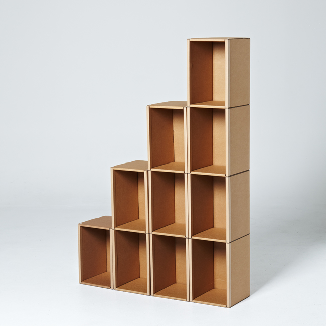Cardboard book shelf type 1
