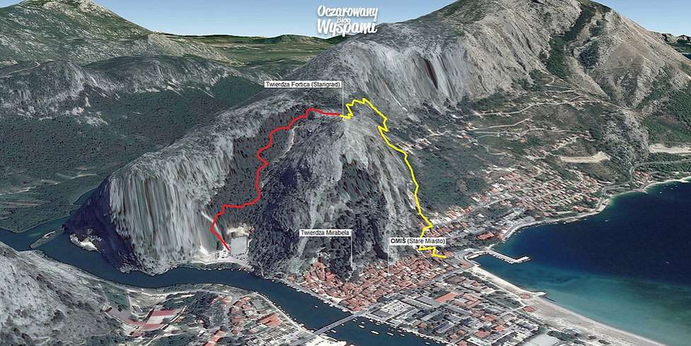 Mapa 3D Omiš Fortica szlki