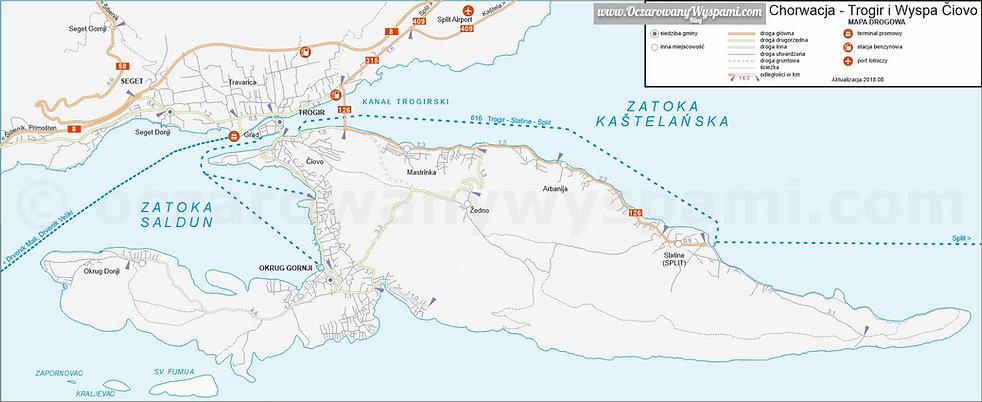 Chorwacja Trogir Ciovo Mapa Drogowa 2018