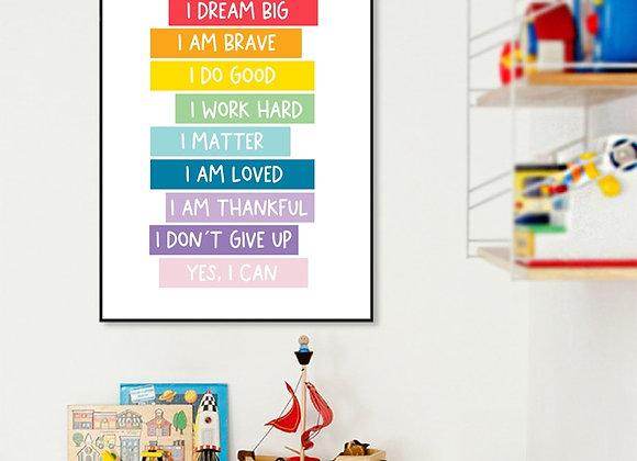Kids Positive Affirmation Wall Art