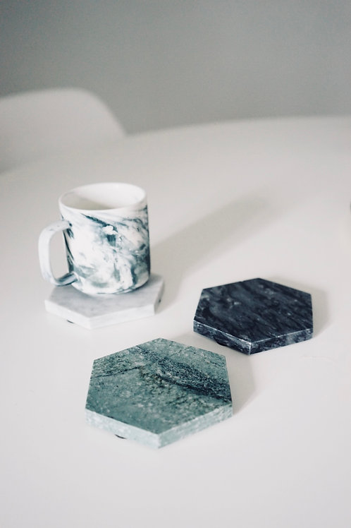 HEXA MARBLE COASTERS (Set of 3)