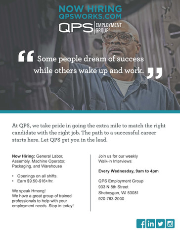 Open Interviews in Sheboygan with QPS Employment Group!